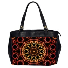 Yellow And Red Mandala Oversize Office Handbag (Two Sides)