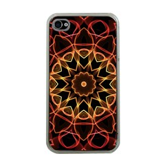Yellow And Red Mandala Apple iPhone 4 Case (Clear)