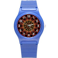 Yellow And Red Mandala Plastic Sport Watch (Small)