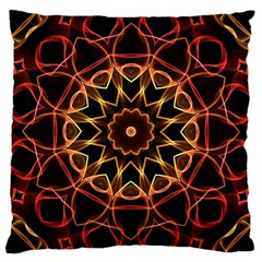Yellow And Red Mandala Large Cushion Case (Two Sided)