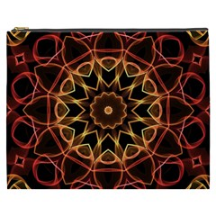 Yellow And Red Mandala Cosmetic Bag (XXXL)