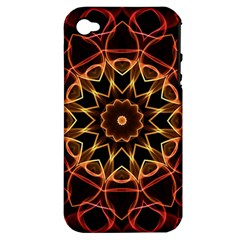 Yellow And Red Mandala Apple Iphone 4/4s Hardshell Case (pc+silicone)