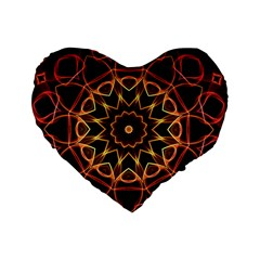 Yellow And Red Mandala 16  Premium Heart Shape Cushion