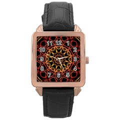 Yellow And Red Mandala Rose Gold Leather Watch