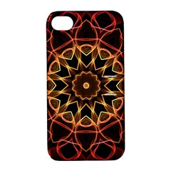 Yellow And Red Mandala Apple iPhone 4/4S Hardshell Case with Stand