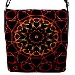Yellow And Red Mandala Flap Closure Messenger Bag (Small)