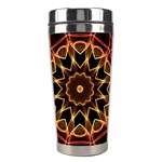 Yellow And Red Mandala Stainless Steel Travel Tumbler Center