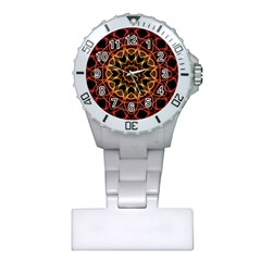 Yellow And Red Mandala Nurses Watch