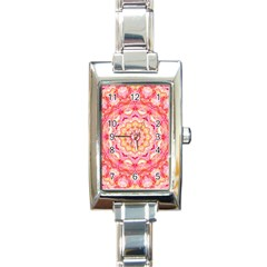 Yellow Pink Romance Rectangular Italian Charm Watch