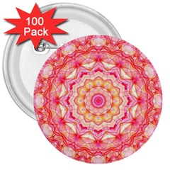 Yellow Pink Romance 3  Button (100 pack)