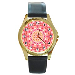 Yellow Pink Romance Round Leather Watch (Gold Rim)