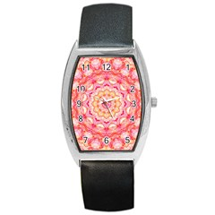 Yellow Pink Romance Tonneau Leather Watch