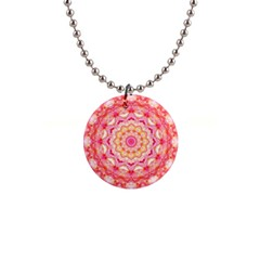 Yellow Pink Romance Button Necklace