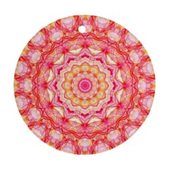 Yellow Pink Romance Round Ornament (two Sides)