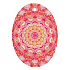 Yellow Pink Romance Oval Ornament (Two Sides)