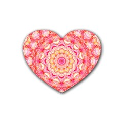 Yellow Pink Romance Drink Coasters 4 Pack (Heart)