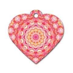 Yellow Pink Romance Dog Tag Heart (One Sided)