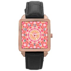 Yellow Pink Romance Rose Gold Leather Watch