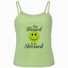 To Blessed To Be Stressed Green Spaghetti Tank
