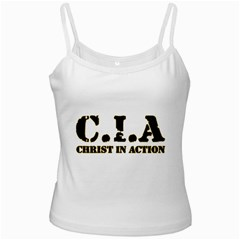 Christ In Action C I A White Spaghetti Tank