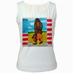 Big Foot,bison U,s,a, Flag Women s Tank Top (white)