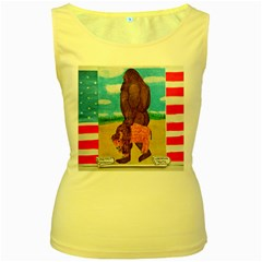 big foot,bison u,s,a, flag Women s Tank Top (Yellow)