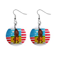 Big Foot,bison U,s,a, Flag Mini Button Earrings