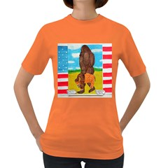 big foot,bison u,s,a, flag Women s T-shirt (Colored)