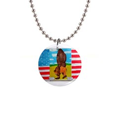 big foot,bison u,s,a, flag Button Necklace