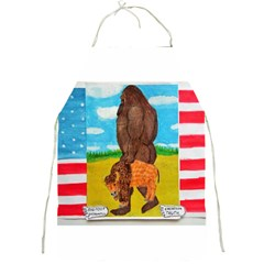 big foot,bison u,s,a, flag Apron