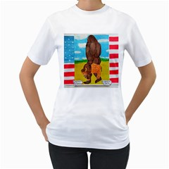 big foot,bison u,s,a, flag Women s T-Shirt (White)