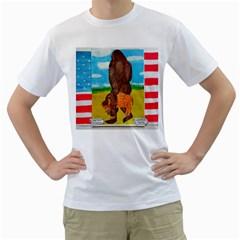 big foot,bison u,s,a, flag Men s T-Shirt (White)