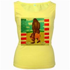 Big Foot,bison U,s,a, Flag Women s Tank Top (yellow)