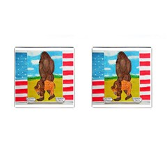 big foot,bison u,s,a, flag Cufflinks (Square)