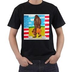 Big Foot,bison U,s,a, Flag Men s T Shirt (black)