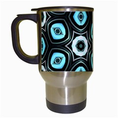 Pale Blue Elegant Retro Travel Mug (White)