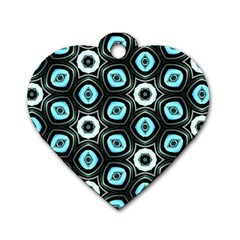 Pale Blue Elegant Retro Dog Tag Heart (two Sided)