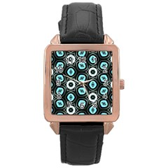 Pale Blue Elegant Retro Rose Gold Leather Watch