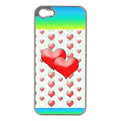 Hearts 2 Apple iPhone 5 Case (Silver)