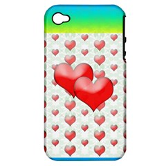 Hearts 2 Apple Iphone 4/4s Hardshell Case (pc+silicone)