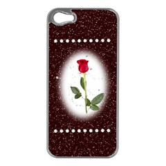Pretty as a rose Apple iPhone 5 Case (Silver)