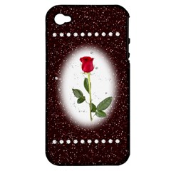Pretty As A Rose Apple Iphone 4/4s Hardshell Case (pc+silicone)