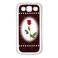 Pretty as a rose Samsung Galaxy S3 Back Case (White)
