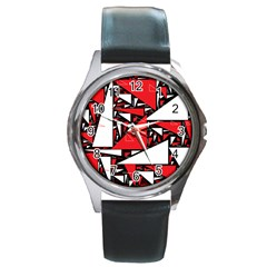 Titillating Triangles Round Leather Watch (silver Rim)