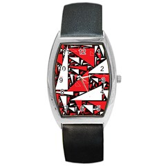 Titillating Triangles Tonneau Leather Watch