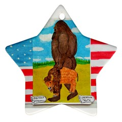 big foot,bison u,s,a, flag Star Ornament
