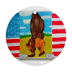 Big Foot,bison U,s,a, Flag Round Ornament (two Sides)