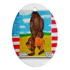 big foot,bison u,s,a, flag Oval Ornament (Two Sides)