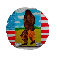 big foot,bison u,s,a, flag 15  Premium Round Cushion