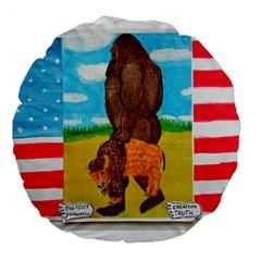 big foot,bison u,s,a, flag 18  Premium Round Cushion